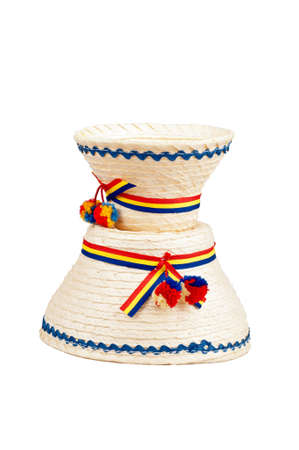 Traditional Romanian hats made of straws, specific for the northern part of the country- Maramures photo