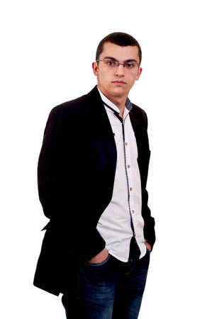 Young serious man whit glasses isolated on white Stock Photo
