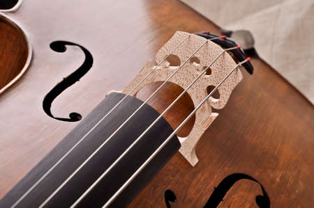 close up of a violoncello isolated on beige background Stock Photo