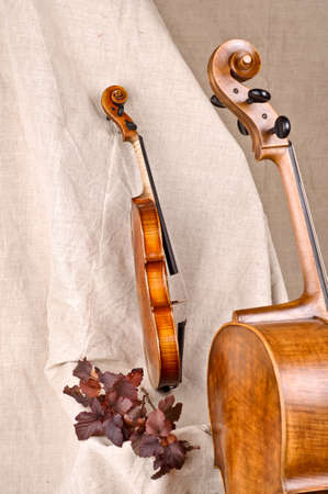 Isolated violin and cello on beige background photo