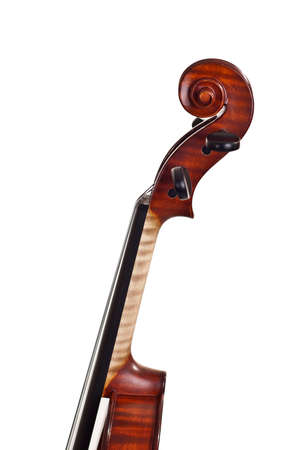 Neck and scroll of the violin on white background