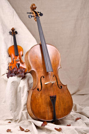 violin and cello on the beige background photo