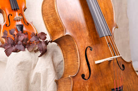 violin and cello on the beige background Stock Photo - 18836079