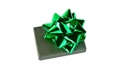 Green gift box with bow isolated on white background Stock Photo