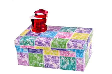 reb: colorful gift box whit ribbon and bow Stock Photo