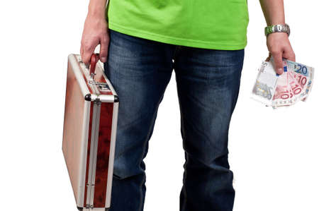 man holding a briefcase and money photo