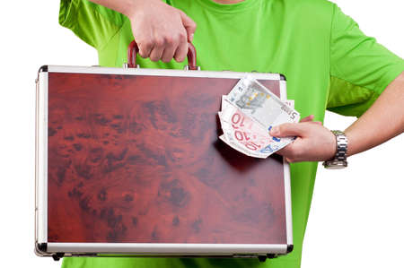 man holding and showing a briefcase and money Stockfoto