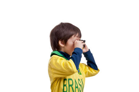 ransack: Portrait of a boy with binoculars over white background
