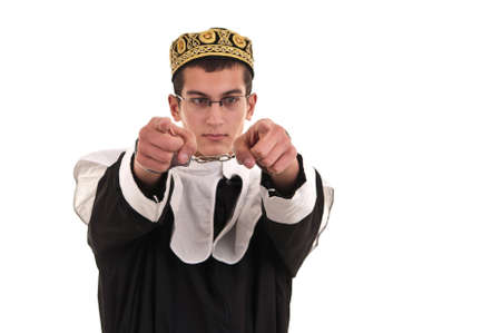 young man with handcuffs costumed in nun for fun, funny religious concept Stock Photo - 19407316