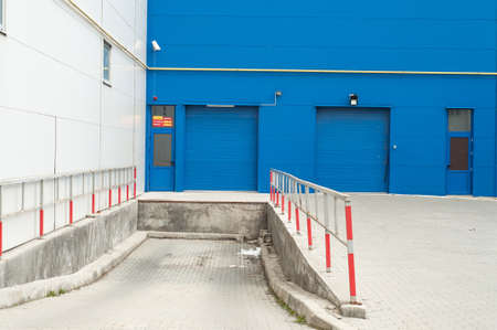 Front view of blue loading docks