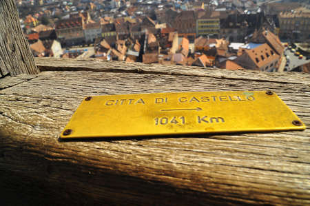 Distance markers - the tower of Sighisoara Citadel photo