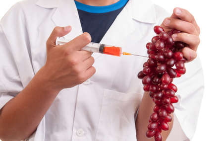 Experiments with grapes fruits in laboratory photo