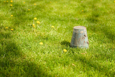 upside down: Spring gardening - overturned pot upside down in grass, copyspace