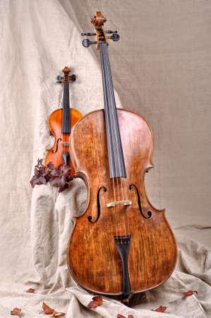 violoncello: violino e violoncello sullo sfondo beige Archivio Fotografico