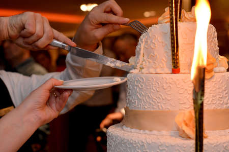 bride and groom cutting their wedding cake, detail