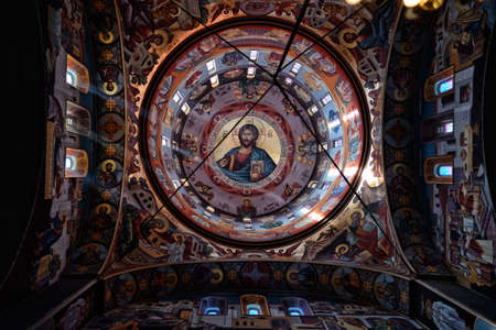 bible altar: Detail of a Orthodox church decorated with Biblical motifs, murals and frescos