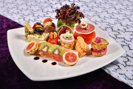 antipasto platter: Antipasto and catering platter with different appetizers, restaurant menu