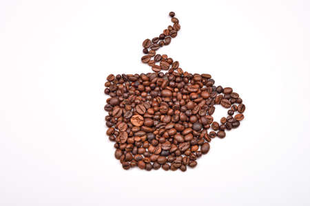 seeds coffee: Coffee cup image made up of coffee beans on a white background