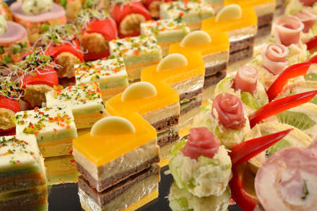 appetizers menu: Close up of antipasto and catering platter with different appetizers, restaurant menu, selective focus Stock Photo
