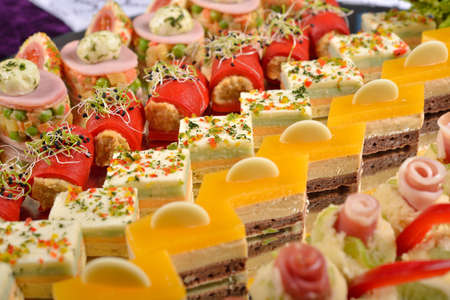buffet: Close up of antipasto and catering platter with different appetizers, restaurant menu, selective focus Stock Photo