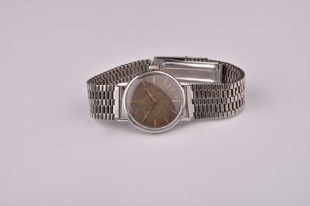 wrist strap: Old classic wrist watch for man with metal strap