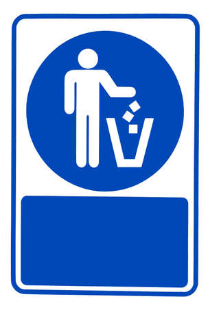 recyclable waste: Recycled symbol over blue and white background. Man throwing trash into dust bin. Keep clean