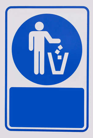 keep clean: Recycled symbol over blue and white background. Man throwing trash into dust bin. Keep clean
