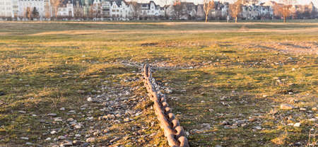 DUESSELDORF, GERMANY - JANUARY 20, 2017: An old anchor chain provides testimonial for ancient transportation services on river Rhine. Editorial
