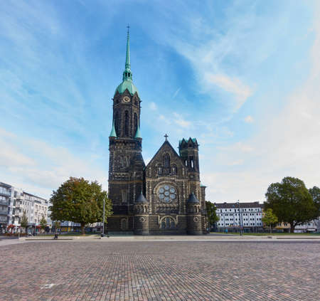 tristesse: MOENCHENGLADBACH-RHEYDT, GERMANY - OCTOBER 13, 2016: Panoramic view on the new market place and the old church of Rheydt
