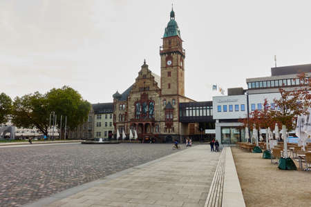 tristesse: MOENCHENGLADBACH-RHEYDT, GERMANY - OCTOBER 13, 2016: Panoramic view on townhall and empty new marketplace