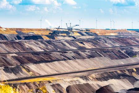 GARZWEILER, GERMANY - SEPTEMBER 01, 2016: Huge machines refill the opencast mine