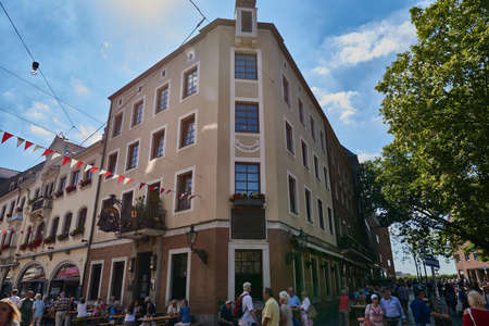 DUESSELDORF, GERMANY - AUGUST 17, 2016: The brewery pub Uerige is am attractive spot since 1682 and invites visitors for an Alt beer Editorial