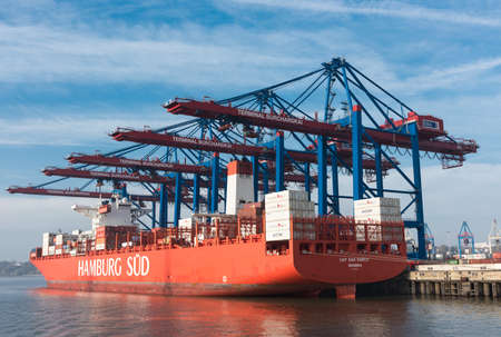 Hamburg, Germany - November 01, 2015: Freight ship Cap San Marco is towed at the famous Burchard quay for reloading