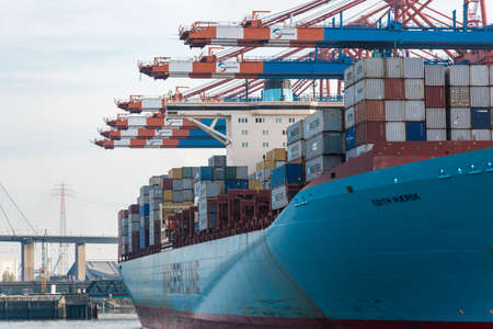 Hamburg, Germany - November 01, 2015: Container ship Edith Maersk is towed at the Eurogate quay for reloading Editorial