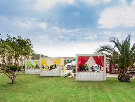 sharm el sheik: RIXOS SHARM EL SHEIK, EGYPT - AUGUST 27, 2015: Hotel pool area with luxury rest areas