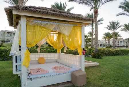sharm el sheik: RIXOS SHARM EL SHEIK, EGYPT - AUGUST 25, 2015: Hotel garden with luxury rest area
