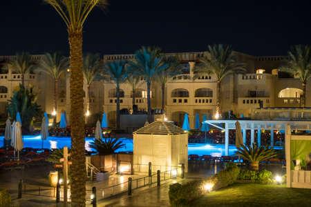 sharm el sheik: RIXOS SHARM EL SHEIK, EGYPT - AUGUST 31, 2015: The upper pool area at night
