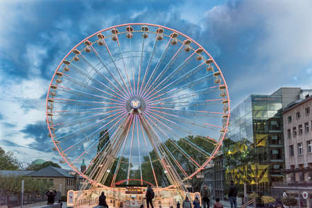 essen germany october 30 2017 the christmas ferris wheel is already installed