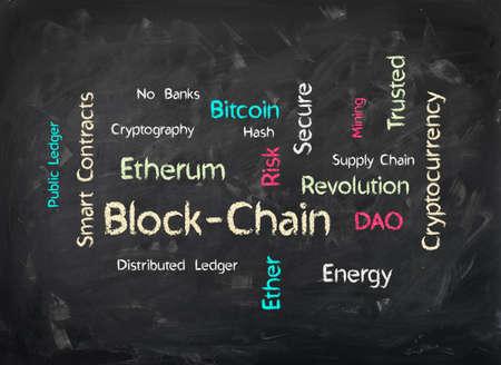 Word Cloud on Chalkboard Background Block-Chain describing key elements Фото со стока