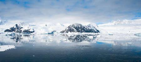 antarctica: Antarctic mountains on the beach