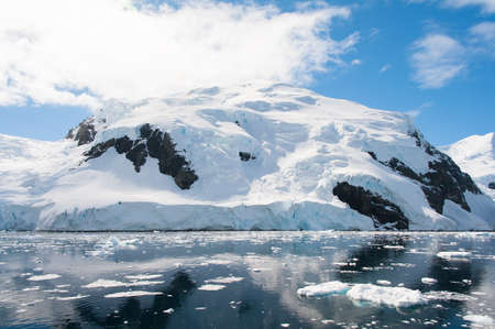 polar climate: Beautifull mountains on the beach of Antarctica