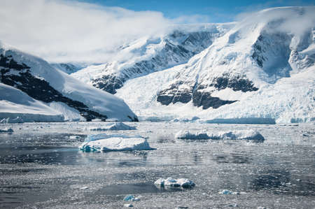 Awesome seascape in Antarctica, bright sunny day photo