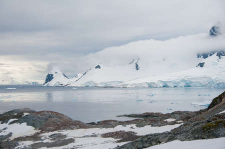 Dramatic landscape in Antarctica, storm is coming photo
