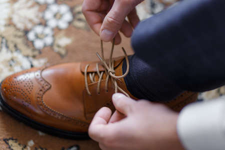 a man wearing shoes Stock Photo