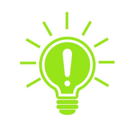 Gloeilamp met stralen schijnen pictogram vector, geïsoleerd op een witte achtergrond. Idee en energie teken, oplossing, denken concept. Verlichting Elektrische lamp. Elektriciteit. Trendy vlakke stijl voor grafisch ontwerp Stock Illustratie