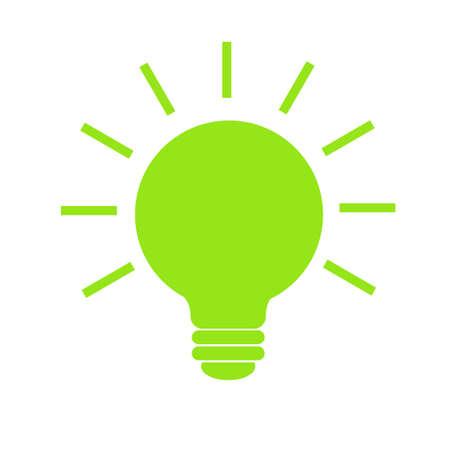 Ampoule avec rayons brillent vecteur d'icône, isolé sur fond blanc. Signe de l'idée et de l'énergie, solution, concept de pensée. Eclairage Lampe électrique. Électricité. Style plat tendance pour la conception graphique
