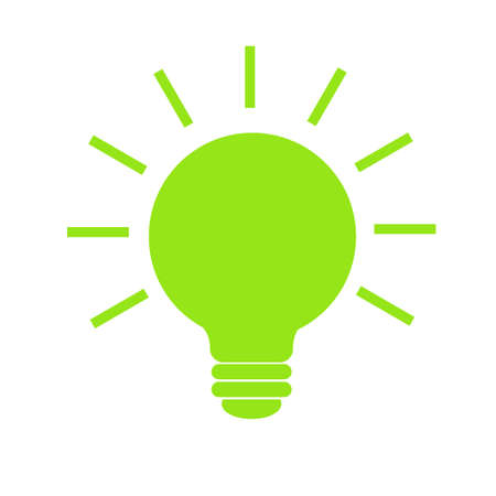 Light Bulb with rays shine icon vector, isolated on white background. Idea and energy sign, solution, thinking concept. Lighting Electric lamp. Electricity. Trendy Flat style for graphic design Ilustração