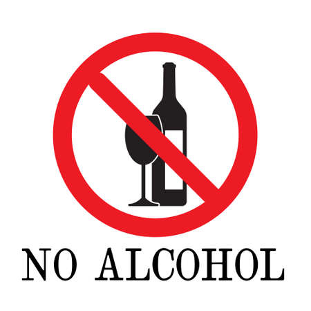 no alcohol drink sign element. No drinking sign, No alcohol sign, isolated on white background, vector illustration. Vettoriali