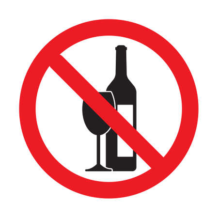 No alcohol drink sign isolated on white background. Illustration