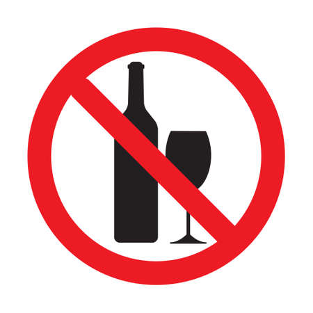 No alcohol drink sign. vector. logo element. No drinking sign, No alcohol sign, isolated on white background, vector illustration.